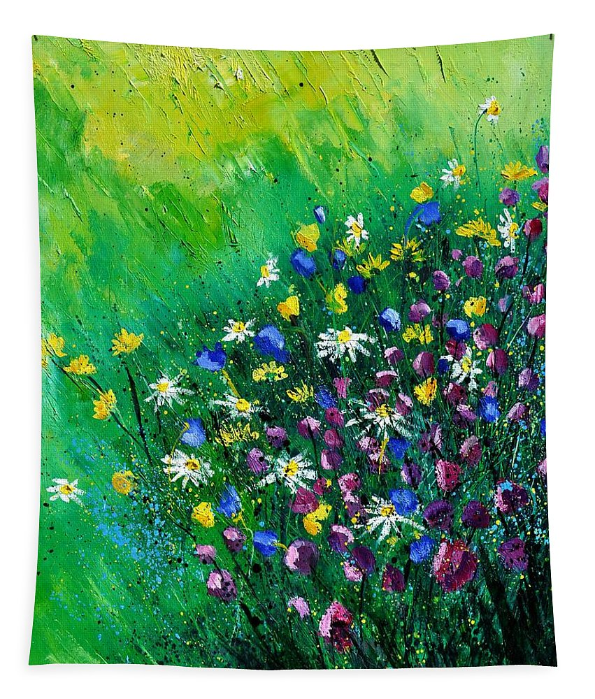 Flowers Tapestry featuring the painting Wild Flowers by Pol Ledent