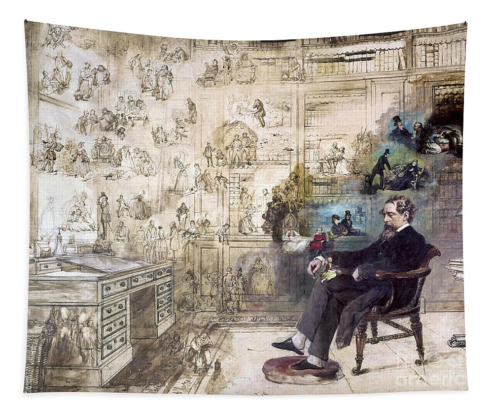 1870s Tapestry featuring the photograph Charles Dickens 1812-1870. To License For Professional Use Visit Granger.com by Granger