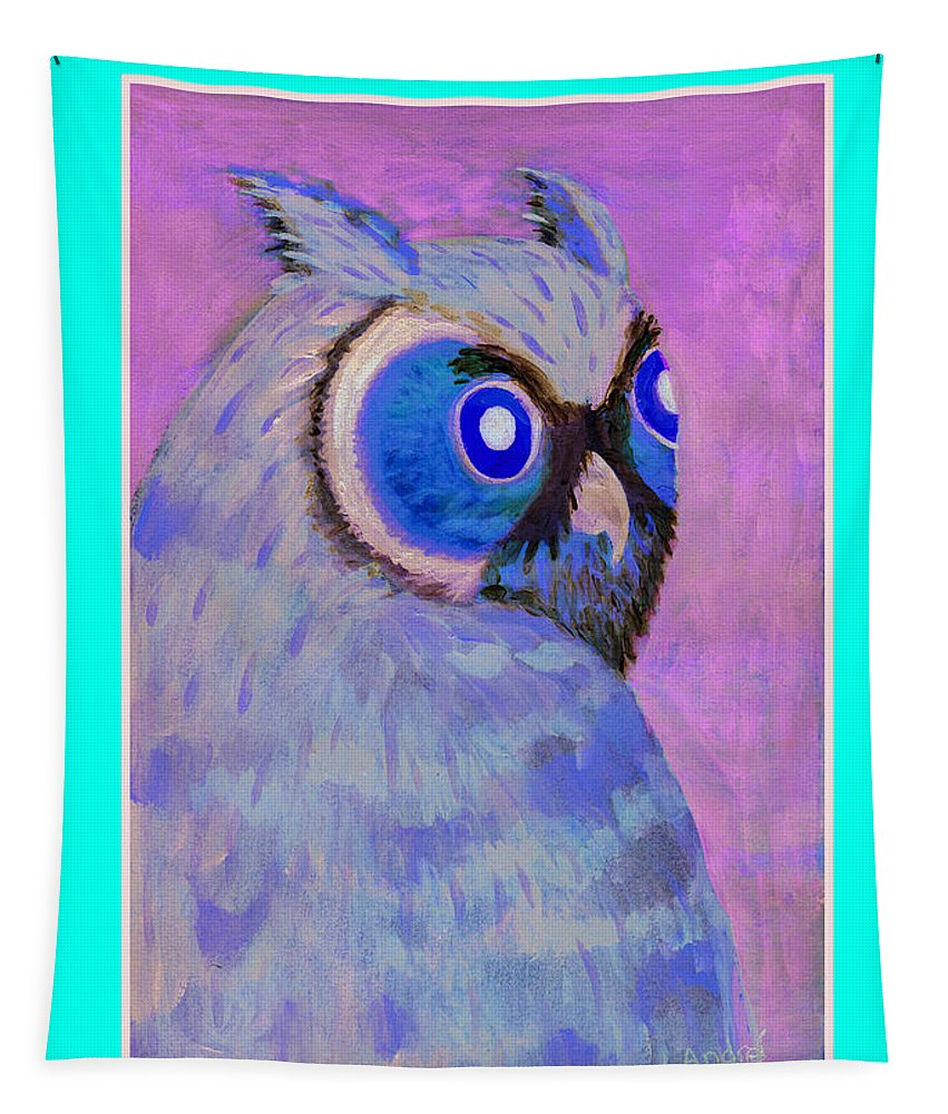 Owl Tapestry featuring the painting 2009 Owl Negative by Lilibeth Andre