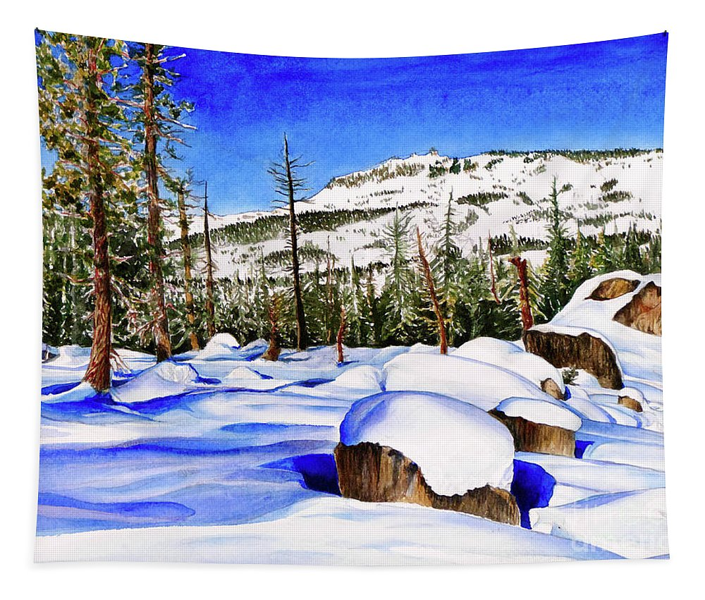 Snow Tapestry featuring the painting #202 Donner Summit by William Lum