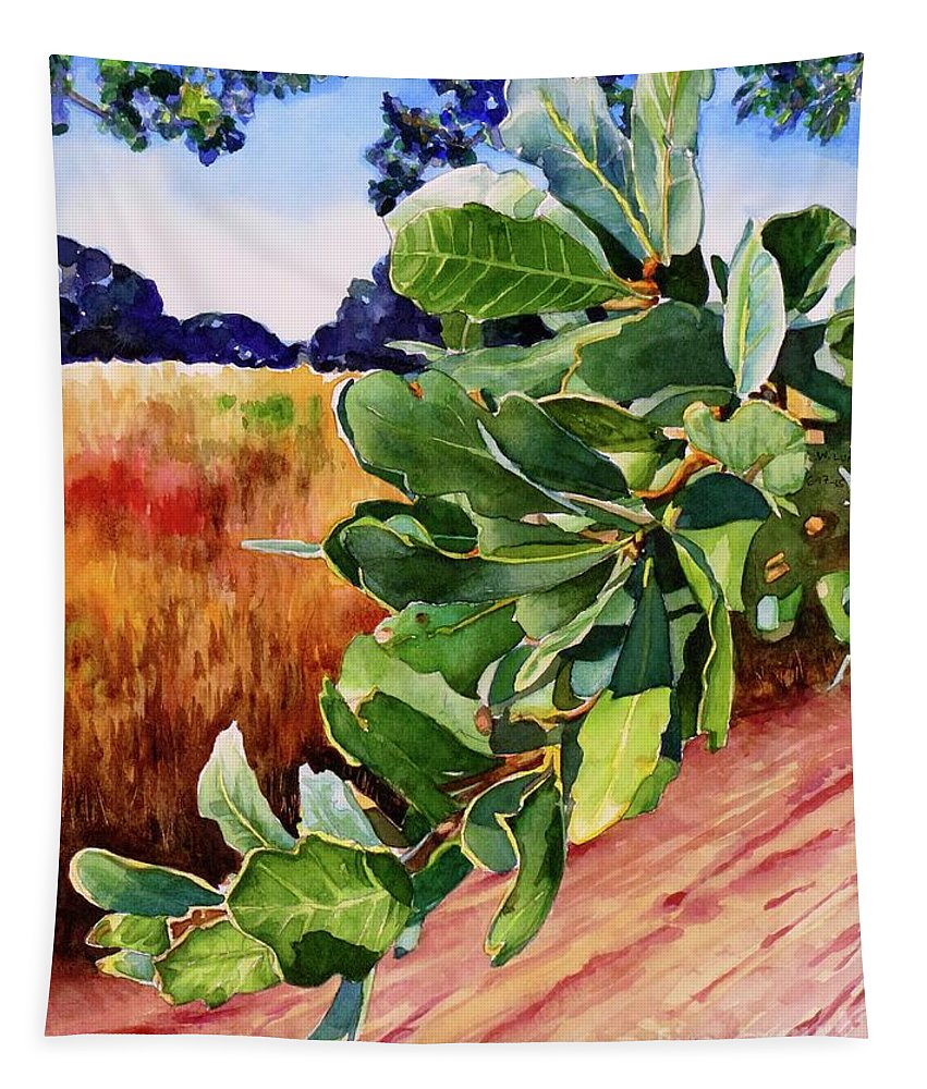 Oak Tapestry featuring the painting #203 Blue Oak Leaves 2 by William Lum