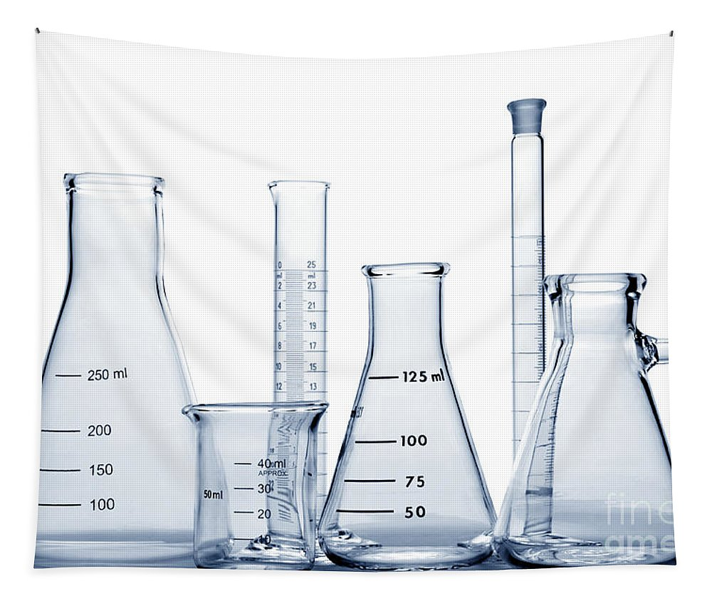 Beaker Tapestry featuring the photograph Laboratory Equipment In Science Research Lab by Olivier Le Queinec