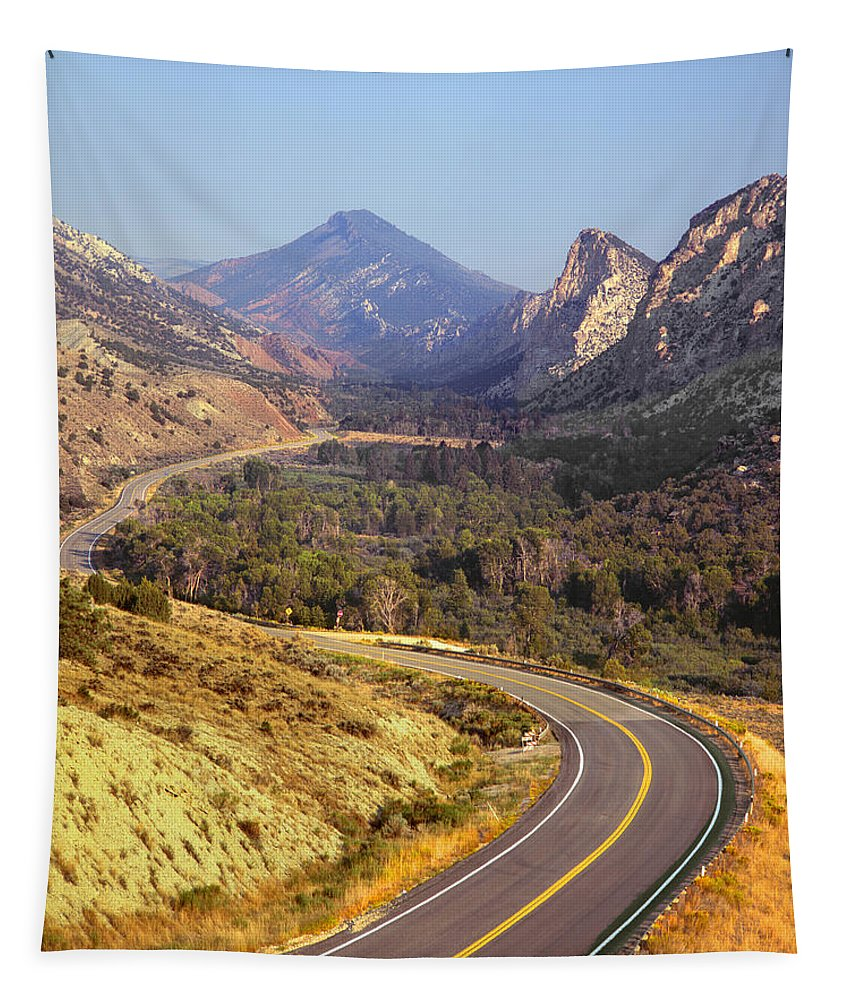 Road Tapestry featuring the photograph 212308 Road To Sheep Creek Canyon by Ed Cooper Photography