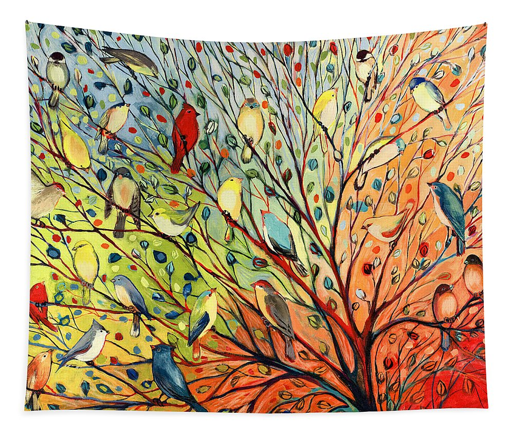 Bird Tapestry featuring the painting 27 Birds by Jennifer Lommers