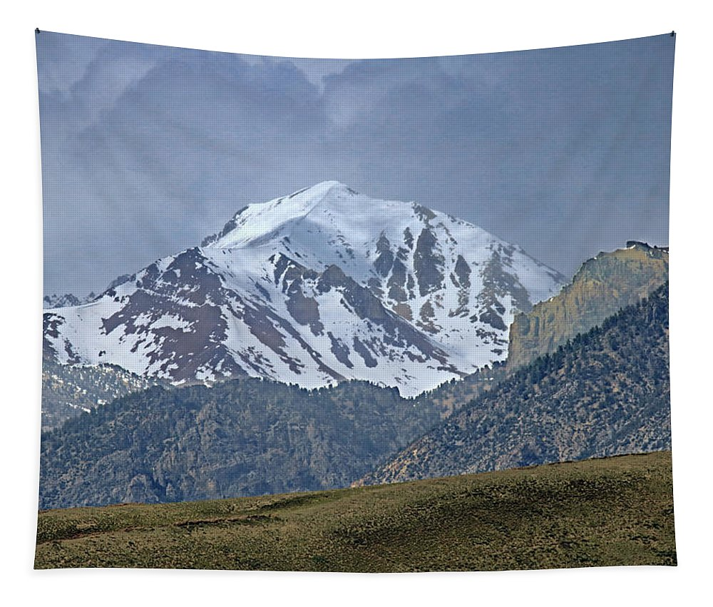 Fresh Snow Tapestry featuring the photograph 2d07508 High Peak In Lost River Range by Ed Cooper Photography