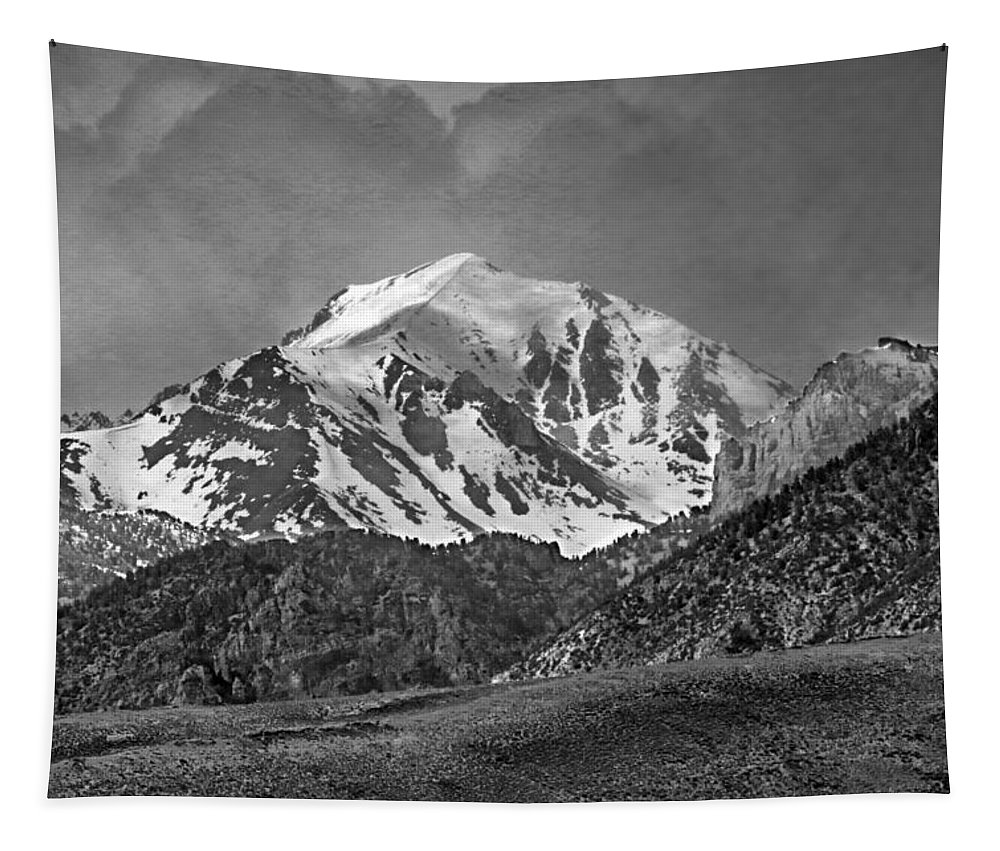 High Peak Tapestry featuring the photograph 2d07508-bw High Peak In Lost River Range by Ed Cooper Photography