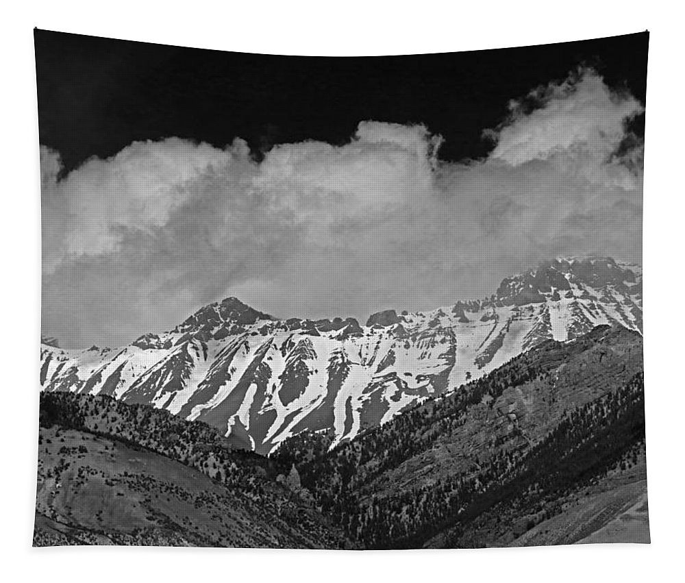 High Peak Tapestry featuring the photograph 2d07509-bw High Peaks In Lost River Range by Ed Cooper Photography
