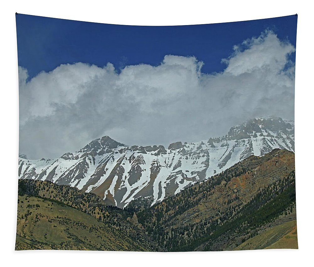 Fresh Snow Tapestry featuring the photograph 2d07509 High Peaks In Lost River Range by Ed Cooper Photography