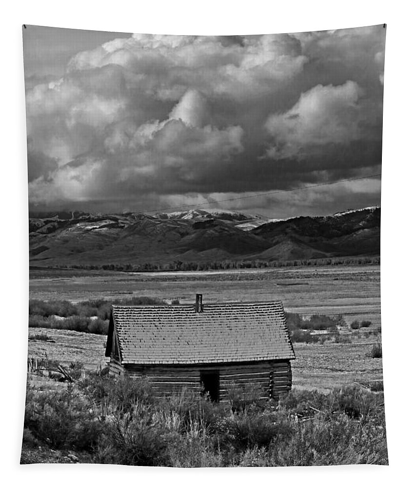 Thousand Springs Valley Tapestry featuring the photograph 2d07515-bw Abandoned Cabin by Ed Cooper Photography
