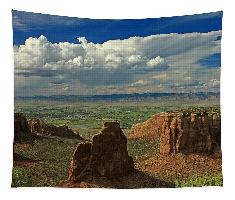 Colorado River Valley Tapestry featuring the photograph 2d10338 Thunderhead Over Independence Monument by Ed Cooper Photography