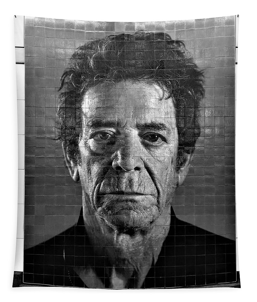 Art Tapestry featuring the photograph 2nd Ave Subway Art Lou Reed B W by Rob Hans
