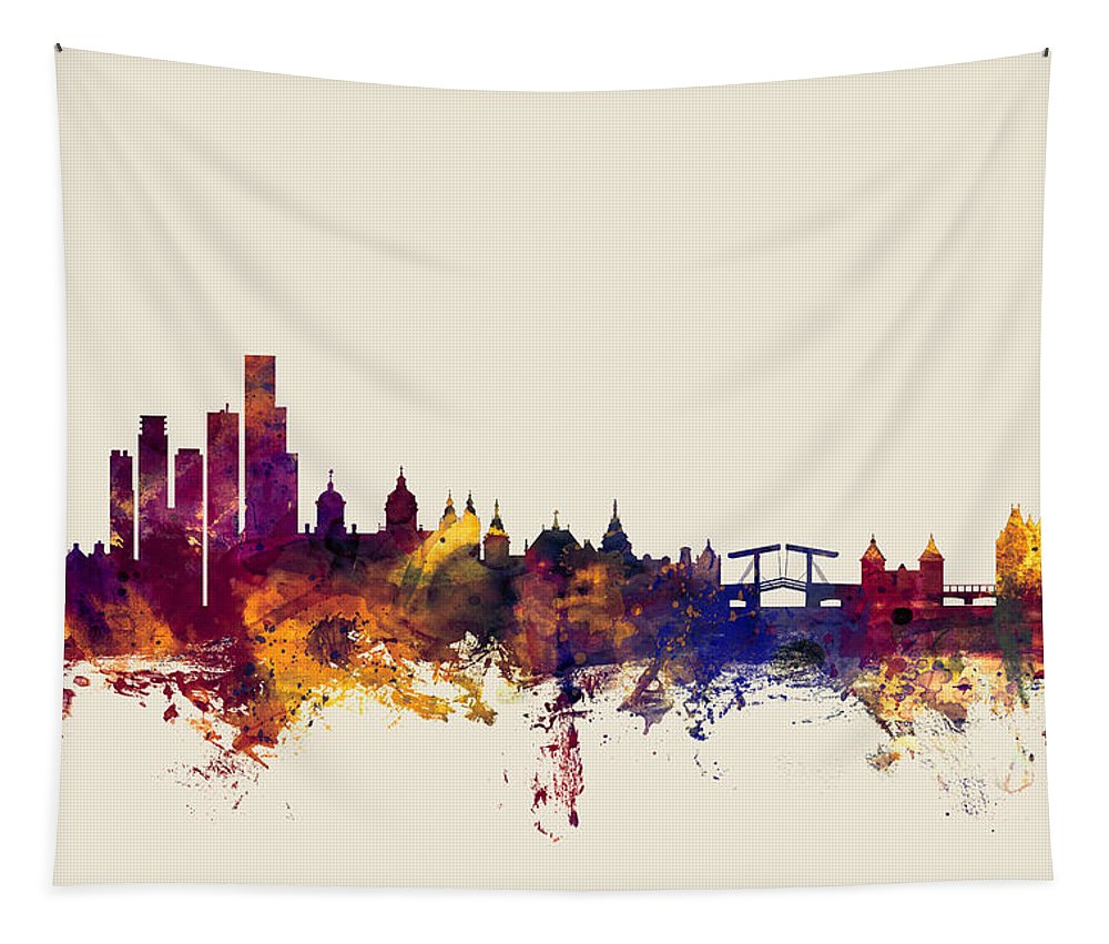 Amsterdam Tapestry featuring the digital art Amsterdam The Netherlands Skyline by Michael Tompsett