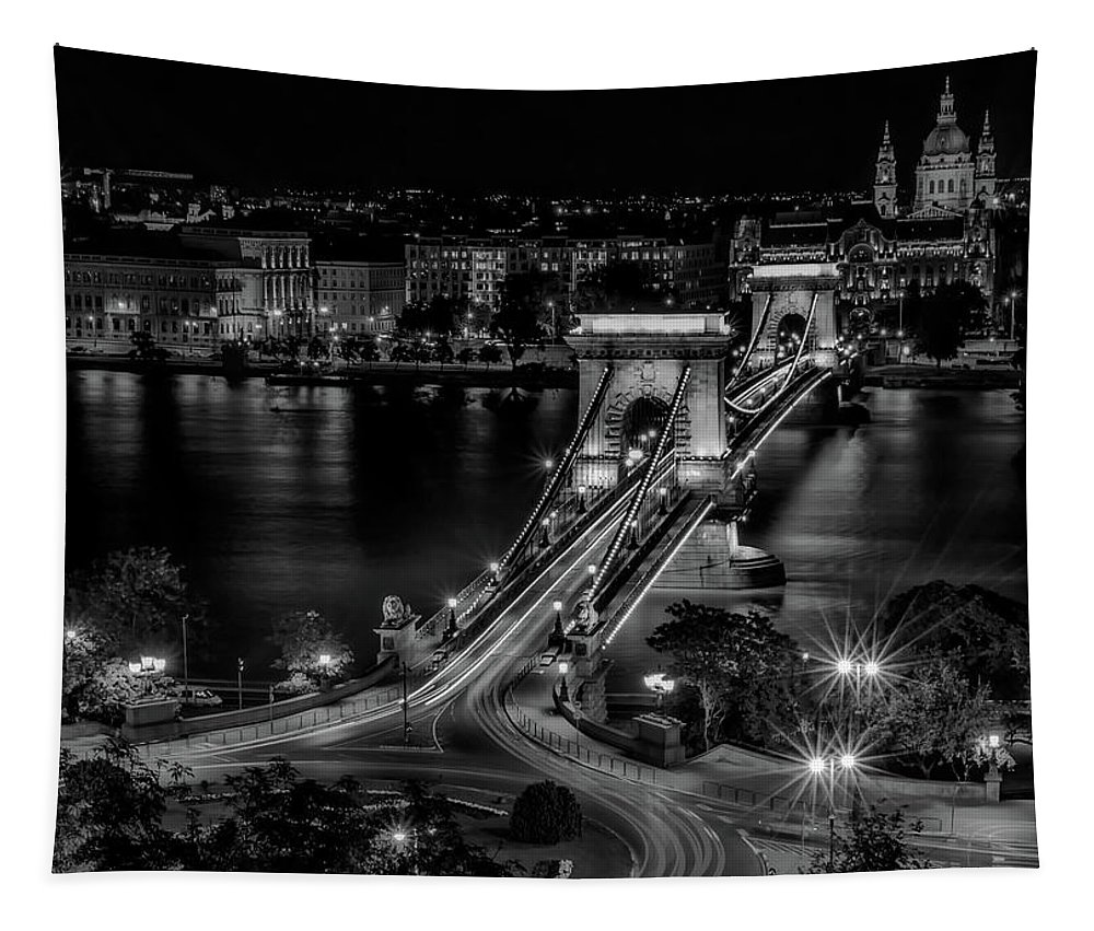 Budapest Tapestry featuring the photograph An Evening In Budapest by Pixabay