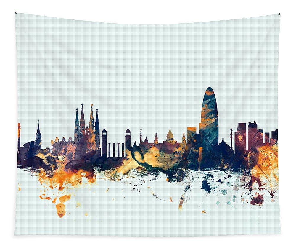 Barcelona Tapestry featuring the digital art Barcelona Spain Skyline by Michael Tompsett