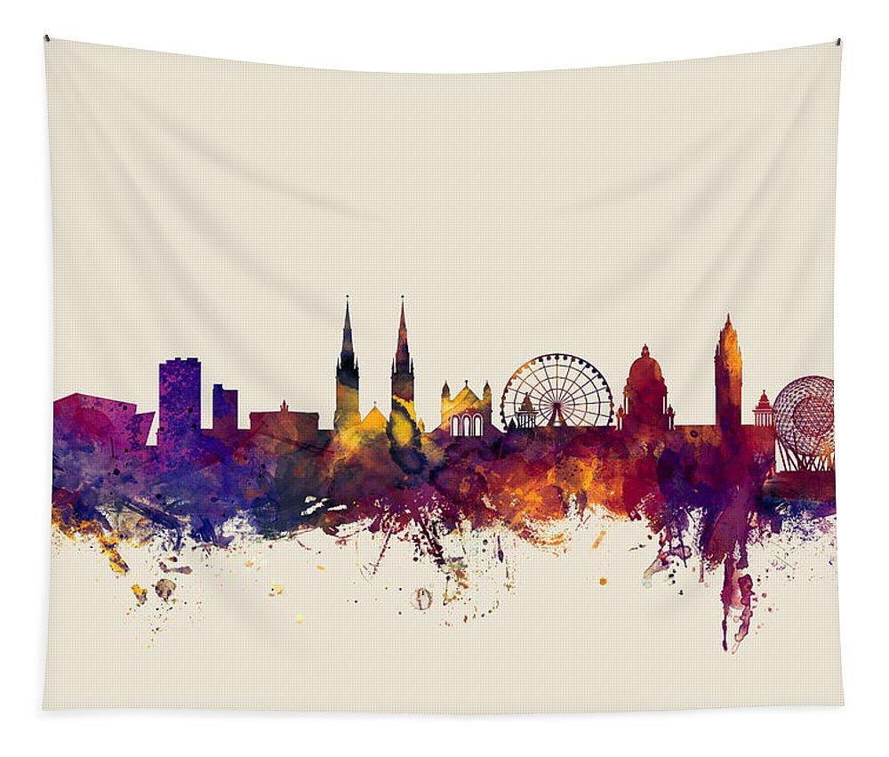 Belfast Tapestry featuring the digital art Belfast Northern Ireland Skyline by Michael Tompsett