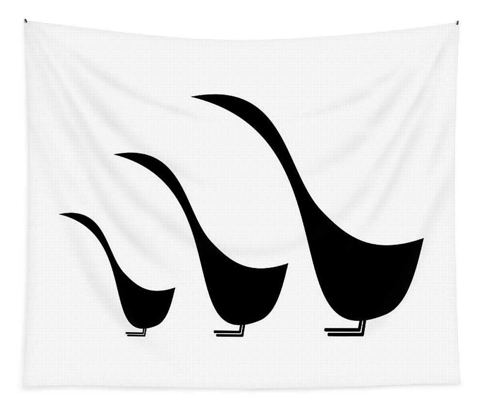 Mid Century Modern Tapestry featuring the digital art 3 Birds by Donna Mibus