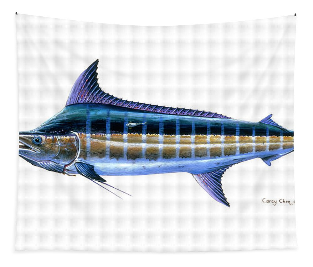 Blue Marlin Tapestry featuring the painting Blue Marlin 3 by Carey Chen
