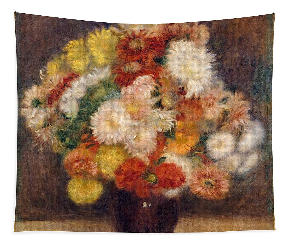 Auguste Renoir Tapestry featuring the painting Bouquet Of Chrysanthemums by Auguste Renoir