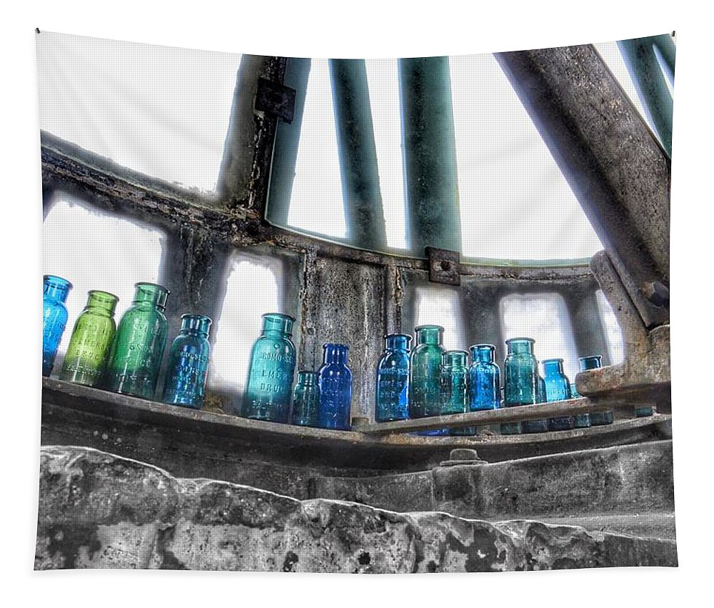 Bromo Seltzer Vintage Glass Bottles Tapestry featuring the photograph Bromo Seltzer Vintage Glass Bottles by Marianna Mills