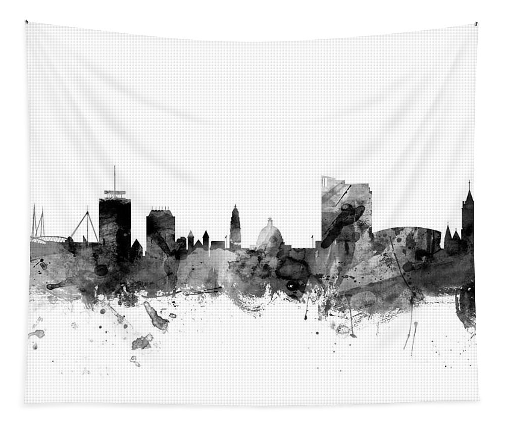City Tapestry featuring the digital art Cardiff Wales Skyline by Michael Tompsett
