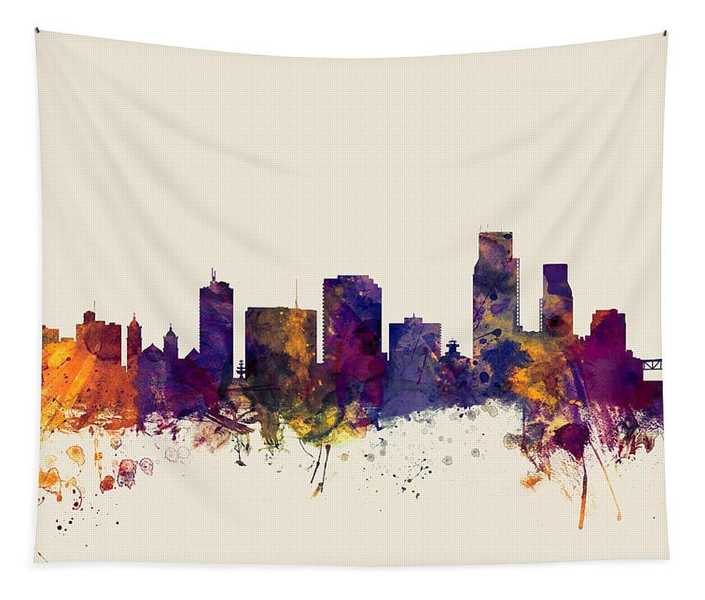 City Tapestry featuring the digital art Corpus Christie Texas Skyline by Michael Tompsett