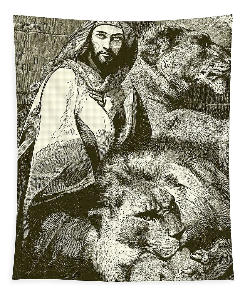 Daniel In The Lions Den Tapestry featuring the painting Daniel In The Lions Den by English School