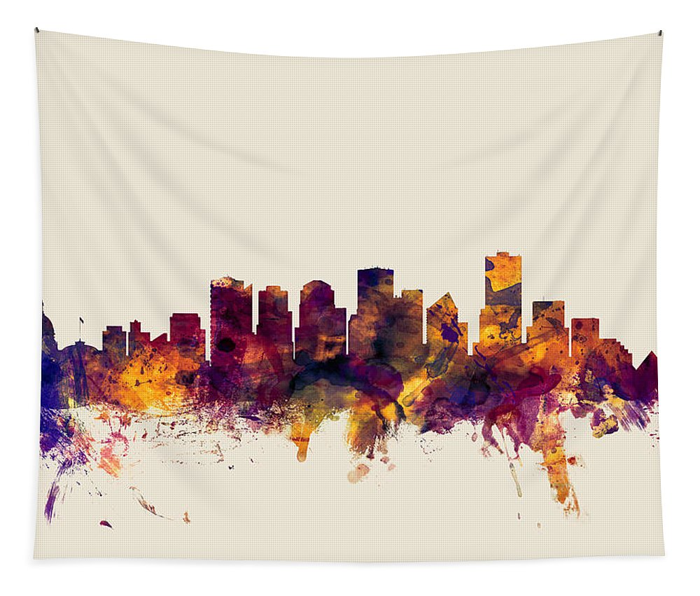 City Tapestry featuring the digital art Edmonton Canada Skyline by Michael Tompsett