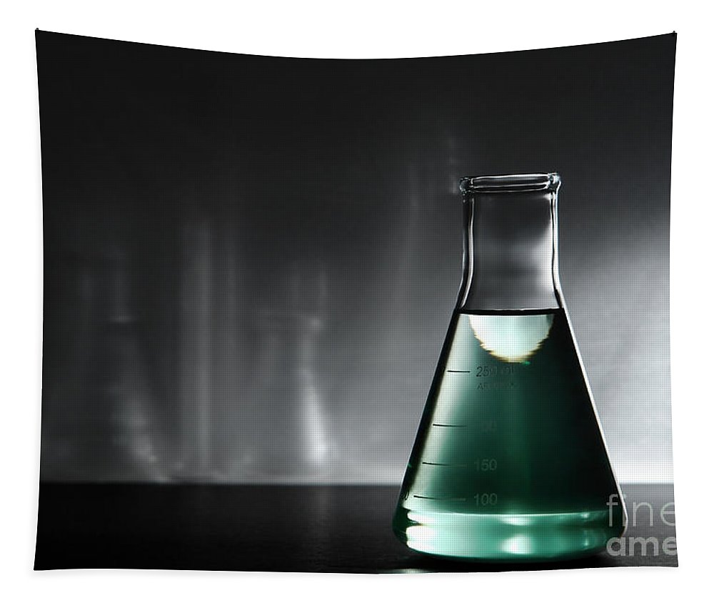 Erlenmeyer Tapestry featuring the photograph Equipment In Science Research Lab by Olivier Le Queinec