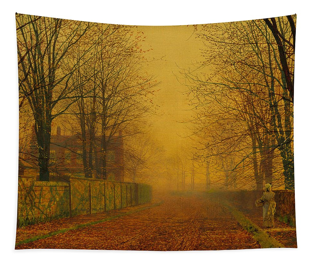 John Atkinson Grimshaw Tapestry featuring the painting Evening Glow by John Atkinson Grimshaw