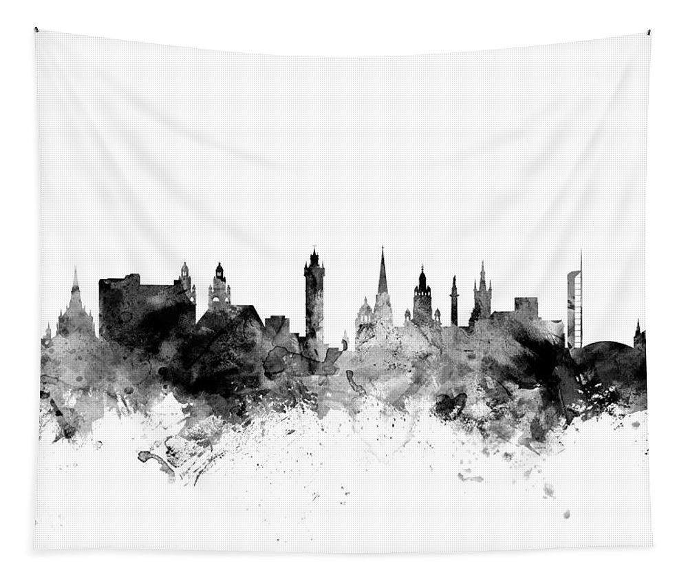 City Tapestry featuring the digital art Glasgow Scotland Skyline by Michael Tompsett