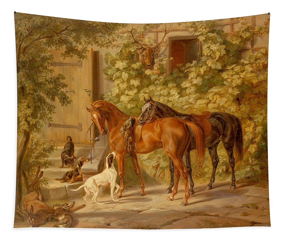 Painting Tapestry featuring the painting Horses At The Porch by Mountain Dreams