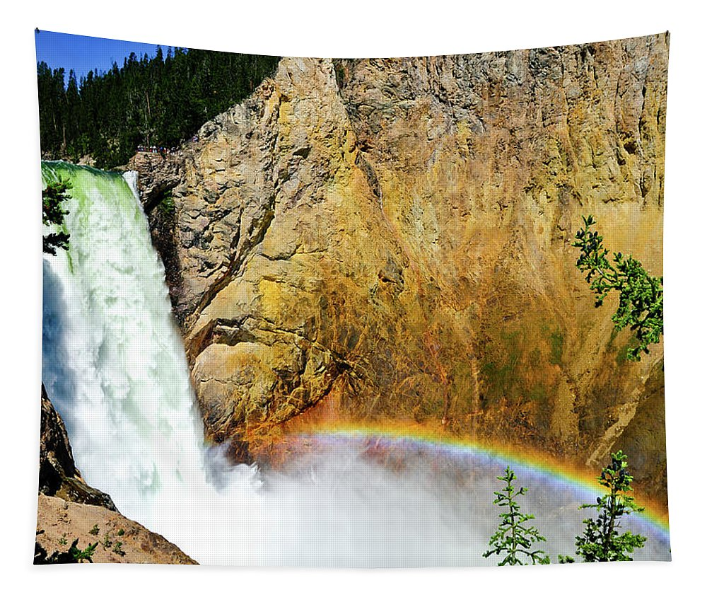 Yellowstone National Park Tapestry featuring the photograph Lower Falls Rainbow by Greg Norrell