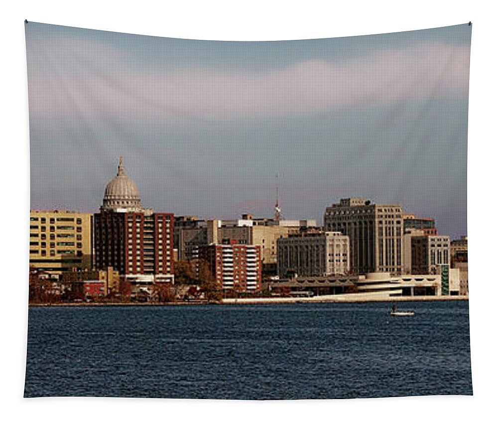 Madison Tapestry featuring the photograph Madison Wisconsin by Tommy Anderson