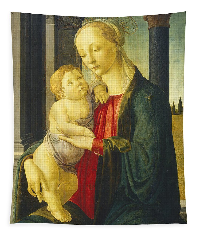 Sandro Botticelli Tapestry featuring the painting Madonna And Child by Sandro Botticelli