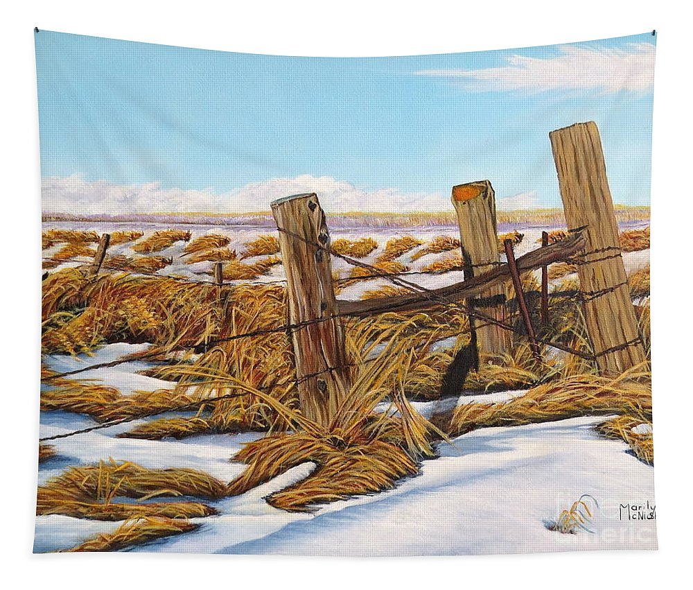 Posts Tapestry featuring the painting 3 Olds Posts 3 by Marilyn McNish