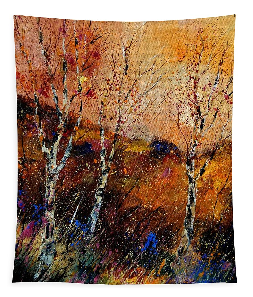 River Tapestry featuring the painting 3 Poplars by Pol Ledent