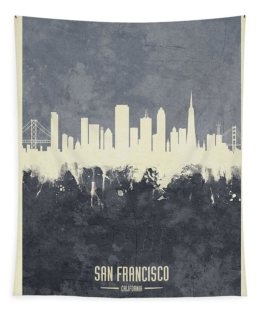 San Francisco Tapestry featuring the digital art San Francisco California Skyline by Michael Tompsett