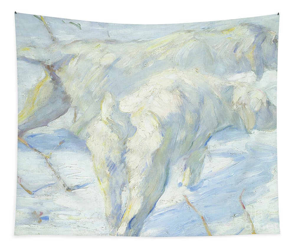 Winter Tapestry featuring the painting Siberian Dogs In The Snow by Franz Marc
