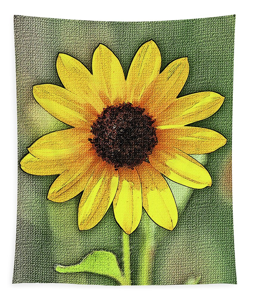 Sunflower Tapestry featuring the digital art Sunflower by Tom Janca