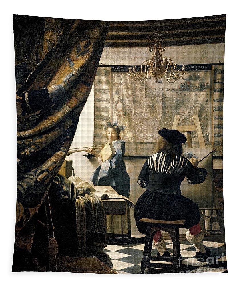Vermeer Tapestry featuring the painting The Artist's Studio by Jan Vermeer