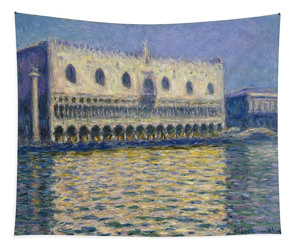 Claude Monet Tapestry featuring the painting The Doges Palace by Claude Monet