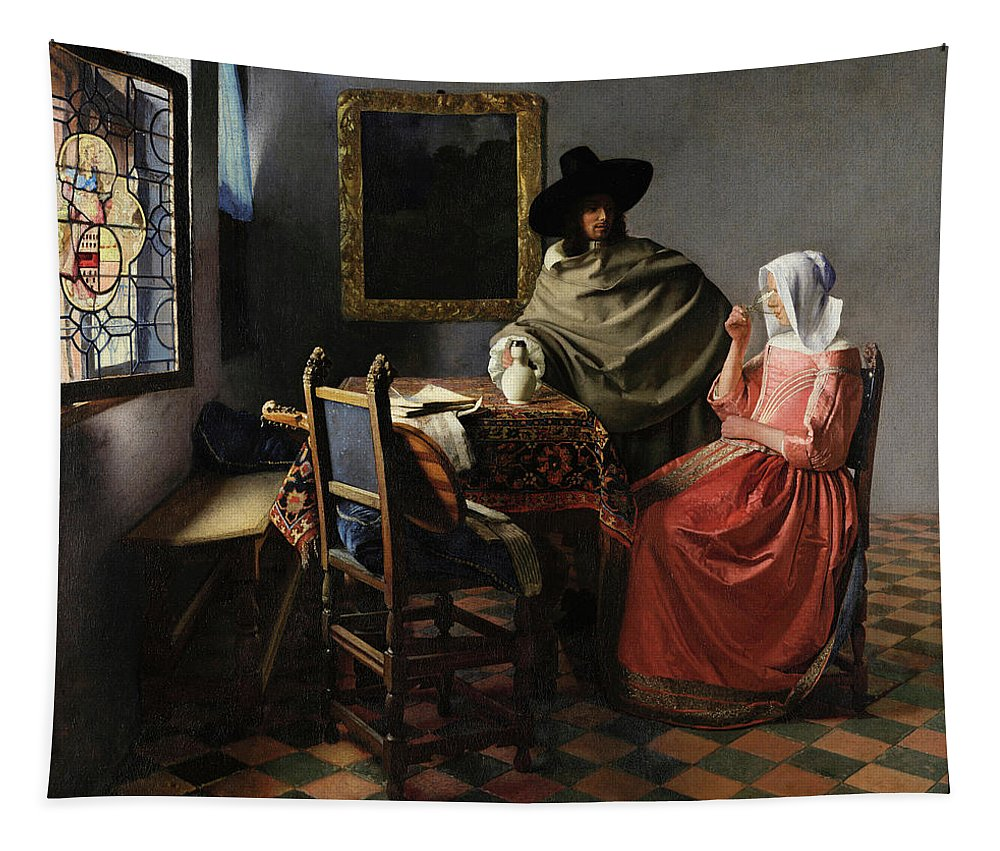 The Glass Of Wine Tapestry featuring the painting The Glass Of Wine by Johannes Vermeer