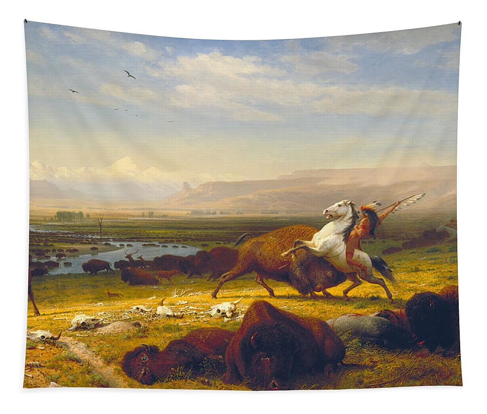 The Last Of The Buffalo Tapestry featuring the painting The Last Of The Buffalo by Albert Bierstadt