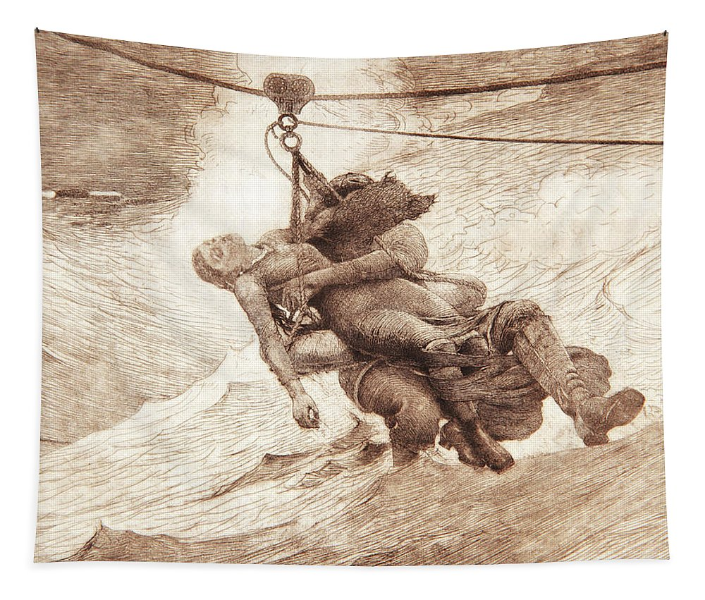 Winslow Homer Tapestry featuring the painting The Life Line by Winslow Homer