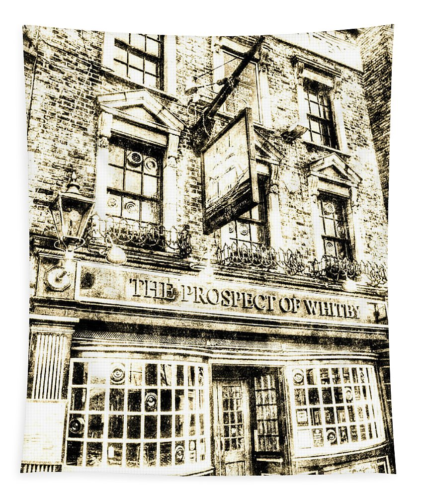 Vintage London Tapestry featuring the photograph The Prospect Of Whitby Pub London Vintage by David Pyatt