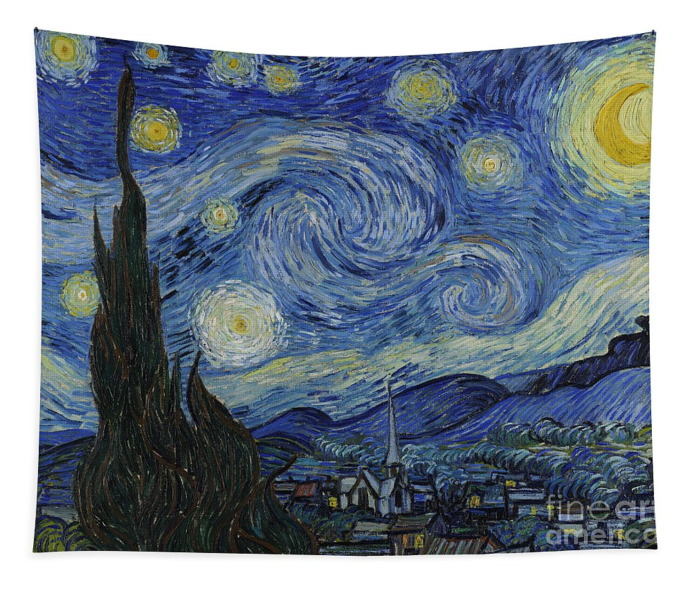 Vincent Tapestry featuring the painting The Starry Night by Vincent Van Gogh