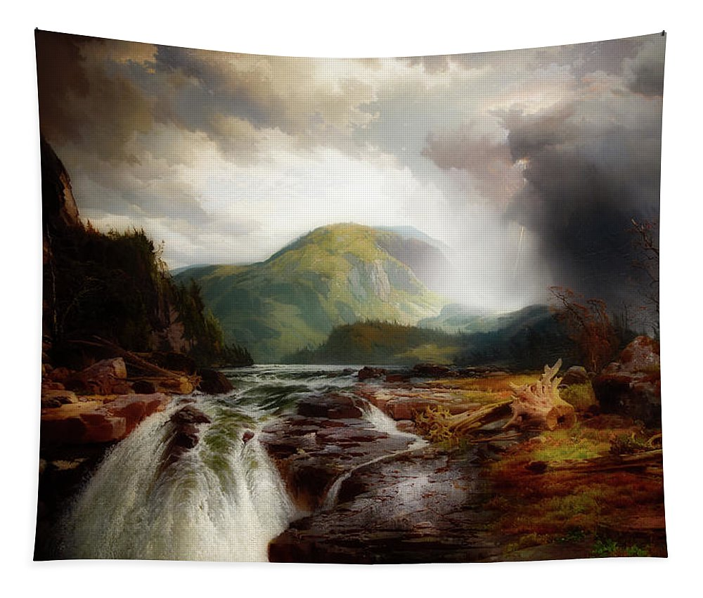 Painting Tapestry featuring the painting The Wilds Of Lake Superior by Thomas Moran