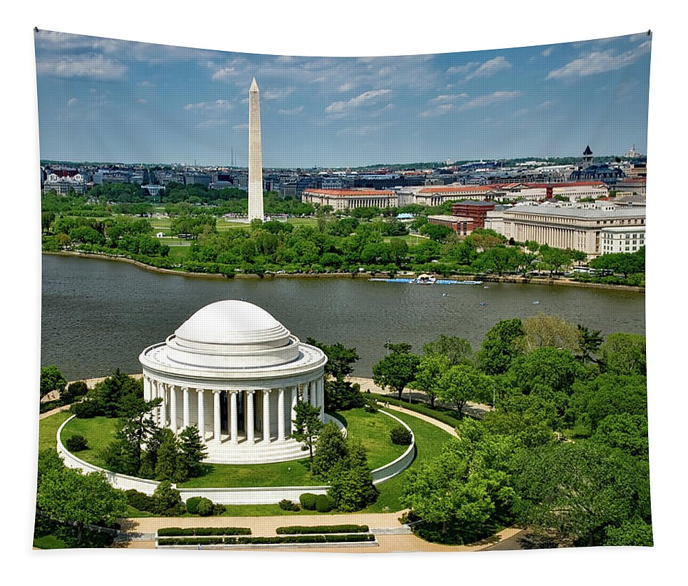 Washington D.c. Tapestry featuring the photograph View Of The Jefferson Memorial And Washington Monument by Mountain Dreams