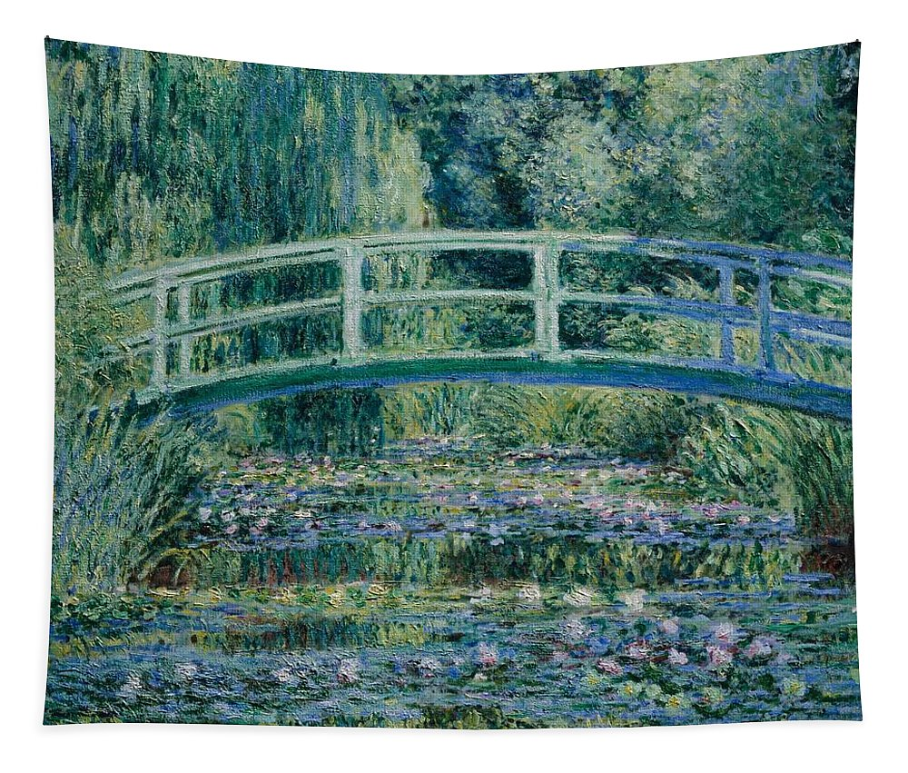 Claude Monet Tapestry featuring the painting Water Lilies And Japanese Bridge by Claude Monet