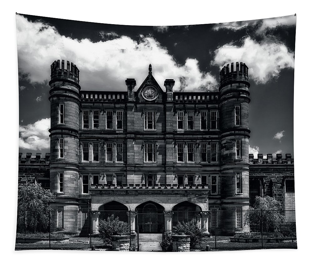 Moundsville Tapestry featuring the photograph West Virginia State Penitentiary by Mountain Dreams